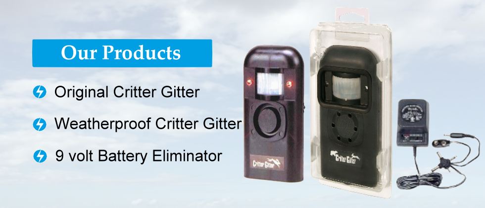 Our Products: Original Critter Gitter, Weatherproof Critter Gitter, 9 volt Battery Eliminator
